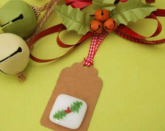 Handmade Fused Green & Red Glass Holly Keepsake Christmas Gift Tag by Jessica Irena Smith