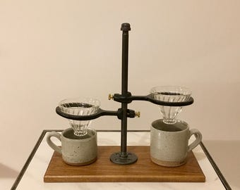 Adjustable Double Pour-Over Coffee Stand - Industrial: pour over coffee stand, coffee dripper, coffee maker, hario, v60
