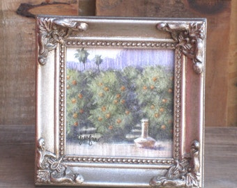 Mini Painting, Original Miniature Painting, Orange Grove, Small Silver Frame, Small Painting, Original Landscape, Small Landscape