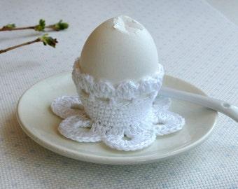 Crochet egg holder Easter egg cozy white romantic breakfast table serving Crochet egg cups housewarming gift for Easter kitchen decor