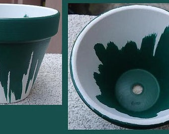 Forest Green Flower Pot//Green and White Flower Pot//Hand-Painted Flower Pot