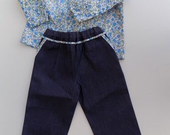 Shirt, blouse, tunic, long sleeves, liberty, blue, and pants, look denim blue clothing girl, set, 6 months, 12 months, 2 years, 4t, 6T