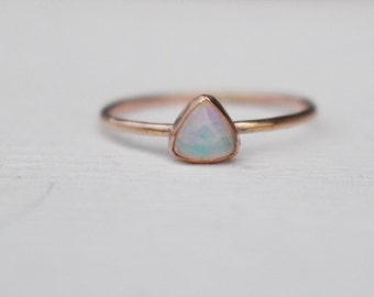 14 K Gold stackable Ring with Welo Opal