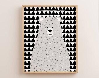 Grey Nursery Decor, Scandinavian Nursery, Grey Bear Print, Grey Wall Art, Nordic Nursery, Grey Print, Nursery Wall Art, Kids Wall Art scandi