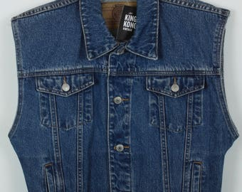 Vintage vest, jeans vest, dark denim, oversized