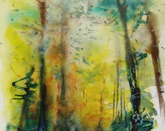 Original watercolor of an undergrowth in autumn, original painting of trees in autumn, gift for him, gift for her, interior decoration