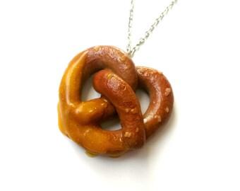 Pretzel Necklace - Faux Food Jewelry, Pretzel Charm Necklace, Foodie Gift, Cute Necklace, Food Charms, Lolita Jewelry, Baker Gifts