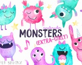 Watercolor Girly Monsters Clipart   Girl Monster Birthday Party - Cute Pink Monsters - Girly Halloween Monsters -  Instant Download PNG