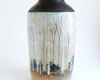 Large Aspens Urn - handmade urn, urn with aspens, forest urn, adult urn, large urn