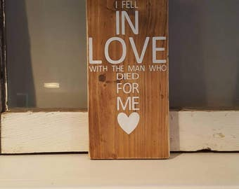 Rustic Wood Love Sign, Love Sign, Cross Sign, Faith Sign, Gifts, Reclaimed Cross, Rustic Faith Sign, Rustic Cross Sign, In Love Sign, Heart