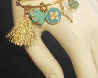 Gold Tone Bangle Charm Bracelet Handmade Jewelry Beachwear #31