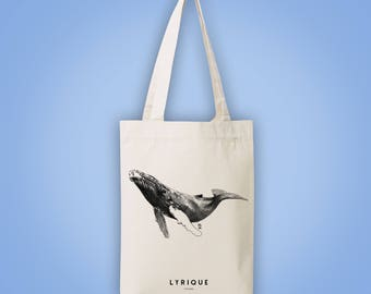 Sac cabas en toile recyclée (recycled woven tote bag) baleine à bosse LYRIQUE lyric lyrical humpback whale animal totem illustration