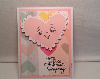 HAPPY HEART card with  SMILING Heart