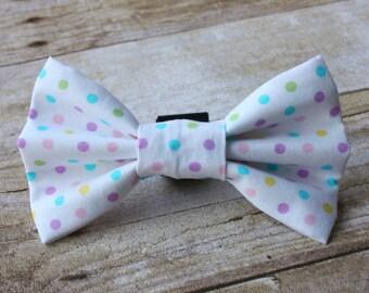 Pastel Polka Dot Easter Dog Bow Tie