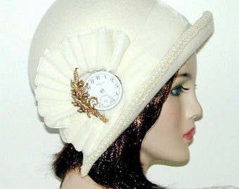 Custom Cloche Convertible ~Mary~ 3 in 1 cloche with velvet- Downton Abbey hat, Miss Fisher, Great Gatsby hat