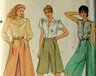 1980s Vogue Vintage Sewing Pattern 8043, Size 8; Misses' Culottes