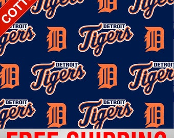 """Detroit Tigers Cotton Fabric MLB Style# DET-6640 60"""" Wide. Free Shipping!!"""