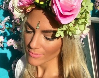 Libby Pink & Green Flower Crown Hair Head Band