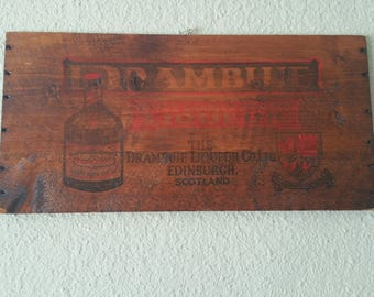 Vintage,Drambuie sign,Wood Crate Drambuie sign,Drambuie Liqueur Sign, Drambuie Liqueur Crate Sign, 18.5 inches long by 9 inches tall