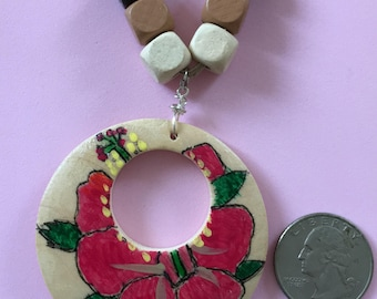 Handpainted Flower on Wood Necklace
