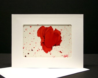 Hand painted alcohol ink card abstract art blank greeting card with envelope, art collectable card hand made card gift for him her