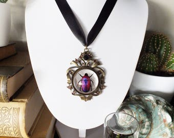 large choker with purple beetle