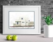 Minimalist poster, made in Greece, Architecture art, Greece painting, Travel poster, New home gift,house portrait, Living room wall decor