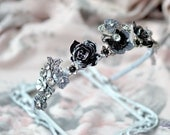 Bridal crown Silver Black wedding tiara Black roses headpiece Fairy Black Queen Festive hair accessory Bohemian rhinestones crown Dark Queen
