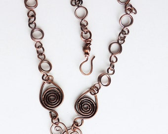Handmade Copper Necklace with Glass Lampwork Bead