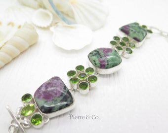 Ruby Zoisite and Peridot Sterling Silver Bracelet
