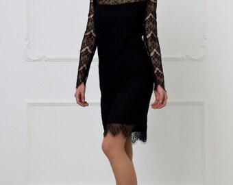 Black Dress by TAVROVSKA, Semi Fitted Guipure Dress
