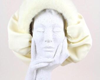 1950s Bonnet-Style Vintage Hat Cream Mink Fur Silk Crepe Wedding Collector's Piece Size S – M / UK 6 7/8 / USA 7