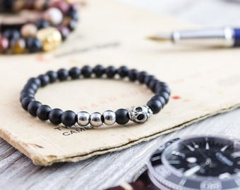 6mm - Matte black onyx beaded stretchy bracelet with silver skull, made to order yoga bracelet, mens bracelet, womens bracelet