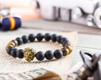 8mm - Matte black onyx & tiger eye beaded gold Lion head stretchy bracelet, made to order yoga bracelet, mens bracelet, womens bracelet
