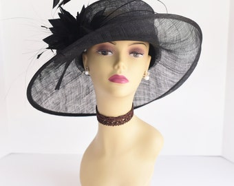 L17 New Kentucky Derby, Church, Wedding, Easter, Tea Party Wide Brim with feather flower Sinamay Hat ( Black )