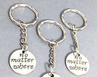 No Matter Where Friend Gift, Custom friend keychains - set of 3, no matter where bff, long distance friendship for 3, friendship keychain