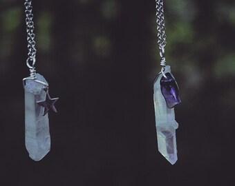 Rainbow Quartz With Amethyst Gemstone Crystal Necklace *SALE*