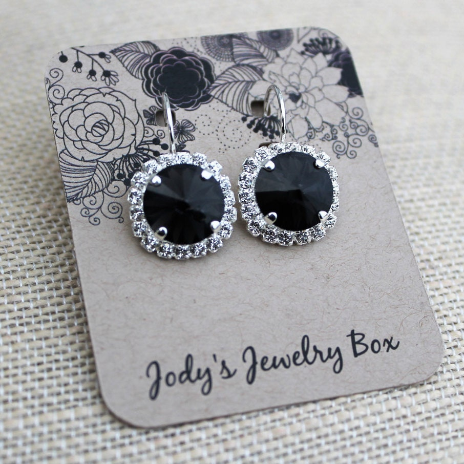 Black And Silver Rhinestone Earrings, 12mm Swarovski Crystal And Rhinestone  Earrings, Graphite