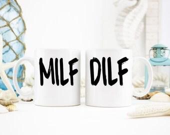 MILF Mug, DILF Mug, MILF and dilf Mug Set, New Parent Coffee Mugs, New Parent Gifts, Expectant Parent Gifts, Funny Gift Ideas, Funny Mug Set