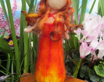 Needle Felted Waldorf Inspired Elemental Maiden 'Fire'