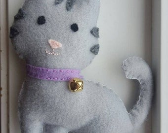 Grey kitty, grey cat, cat plushie, cat stuffed animal, cat softie.