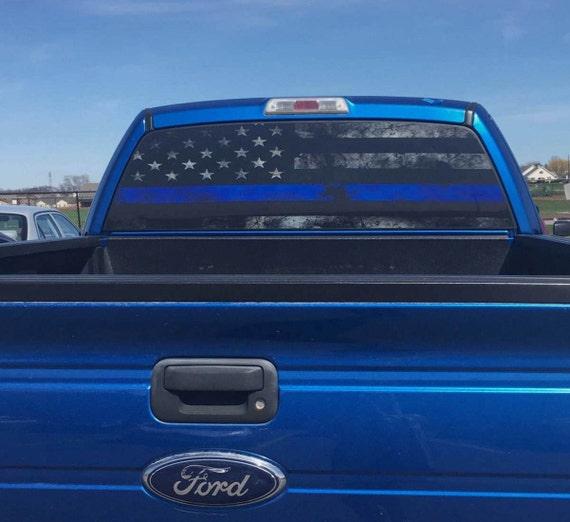 Thin Blue Line Rear Window Graphic Perf Decal Tint Print Sticker - Rear window stickers for trucks