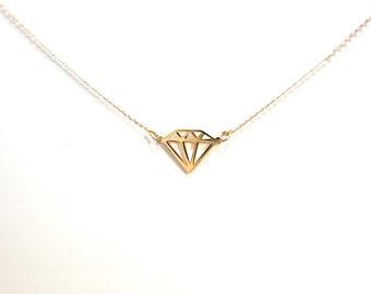 Diamond Necklace, Diamond Silhouette, Diamond Shape Pendant, Classic Diamond Necklace, Gold Necklace. Silver Necklace, Diamond Necklace,