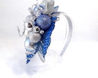 christmas headband women, royal blue headband, silver christmas headband, adult christmas headband, blue and silver, christmas cocktail hair