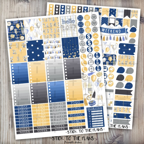 New Year printable planner stickers Erin Condren planner stickers ...