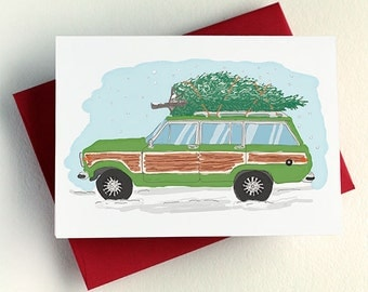 Christmas Tree Station Wagon Card