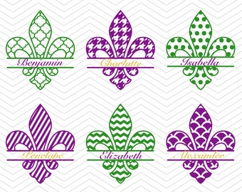 Fleur de Lis Split Monogram Mardi Gras SVG DXF PNG eps Cut Files for Cricut Design, Silhouette studio, Sure Cut Lot, Makes Cut