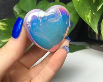 Angel Aura Polished Rose Quartz Crystal Heart