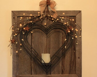 barn wood frame with heart shaped metal candle holder rustic wood unique wall - Barnwood Frames