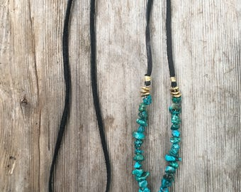 Black, Turquoise, and Quartz Leather Necklace